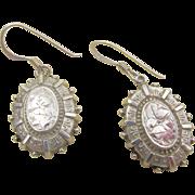 Antique Victorian 1880 Sterling Silver Engraved Pierced Earrings - G.F.W.