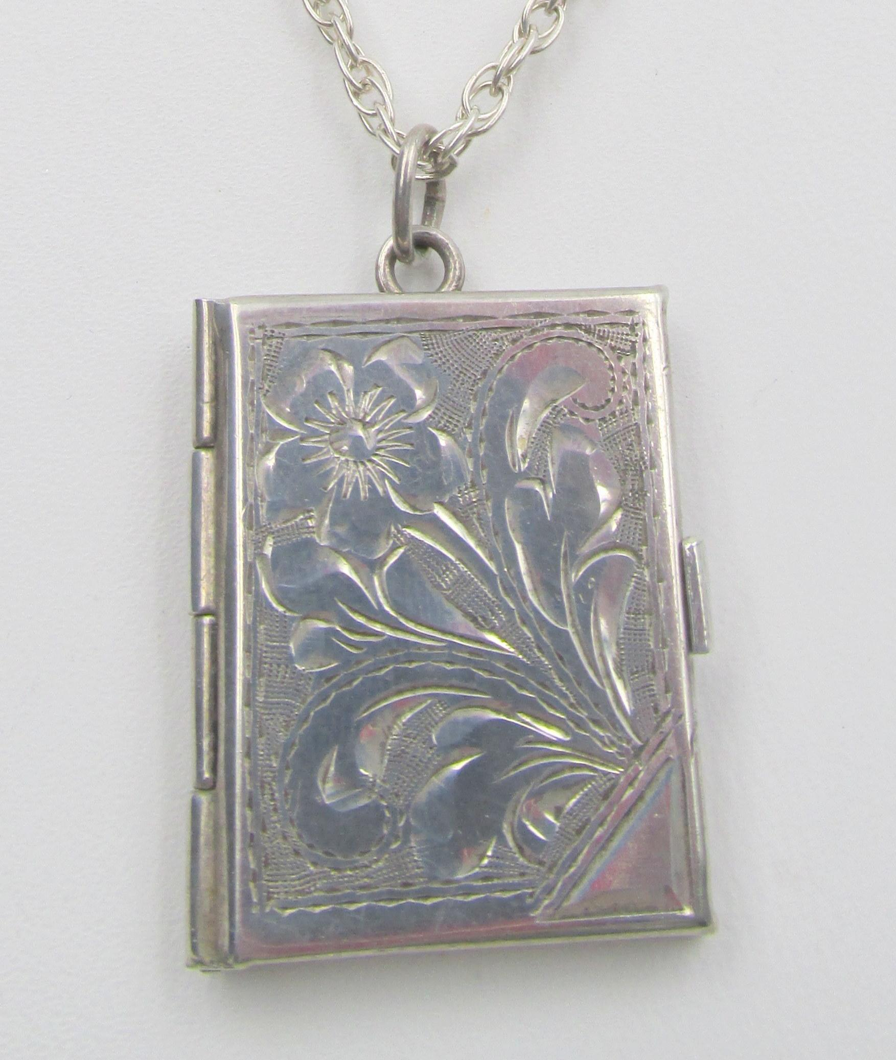 Victorian silver book locket pendant necklace from chapel hill roll over large image to magnify click large image to zoom aloadofball Gallery
