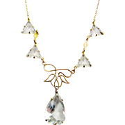 Antique Edwardian Crystal Paste Drop Necklace