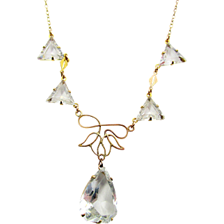 Antique Edwardian Crystal Paste Drop Necklace