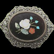 Vintage Victorian Italian Pietra Dura 800 Filigree Brooch