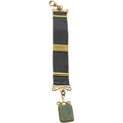 Antique Victorian Watch Green Gemstone Fob and Mourning Ribbon