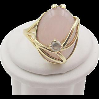 Vintage Pink Jade 9k Gold Overlay Ring 9.5