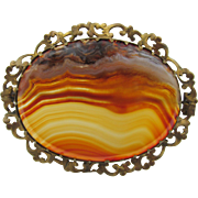 Vintage Scottish Banded Agate Brown Gold Plated Ruffled Brooch