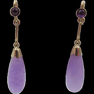 Vintage 15k Gold Amethyst Drop Pierced Earrings