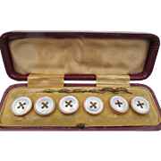 Victorian Set Mother of Pearl Gold Gilt Buttons in Original Leather Box