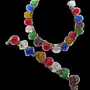 Vintage Czech Colorful Poured Glass Necklace and Bracelet Set