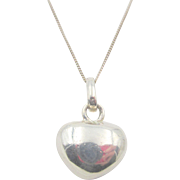 Vintage Solid Sterling Silver Heart and Chain Necklace