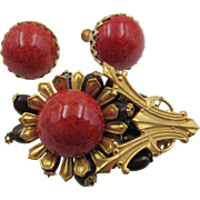Vintage Miriam Haskell Faux Red Coral Cabochon Brooch and Earrings