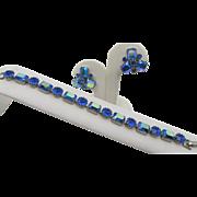 Vintage Weiss Blue AB Rhinestone Bracelet and Earrings