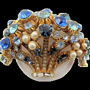 Vintage Blue Rhinestone and Pearl Basket Brooch