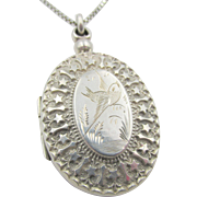 Victorian Sterling Silver England 1880 Engraved Locket and Chain