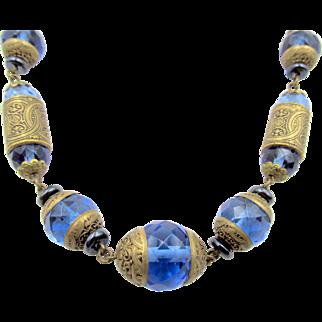 Vintage Art Deco Czech Sapphire Blue Glass and Brass Necklace