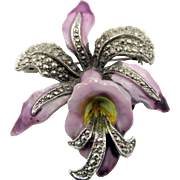 Vintage Orchid and Purple Enamel Marcasite Orchid Flower Brooch