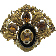 Vintage Art Deco Czech Rhinestone and Enamel Filigree Brooch