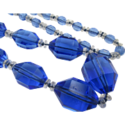 Vintage Art Deco Flapper Blue Crystal Glass Beaded Necklace - 36 in.