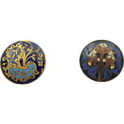 Victorian Champleve Enamel Two Buttons