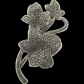 Vintage Marcasite Leaf Brooch