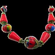 Vintage Art Deco Red Black Glass Brass Necklace