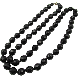 Vintage Art Deco French Jet Black Faceted Glass Beaded Necklace