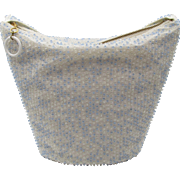 1950s Lumured Blue and Crystal Beaded Bucket Purse