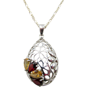 Vintage Sterling Silver Garnet and Citrine Open-work Pendant and Chain Necklace