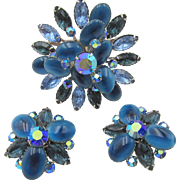 Vintage Signed Beaujewels Blue Art Glass Rhinestone Brooch and Earring Set