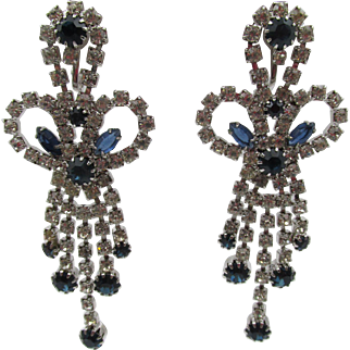 """Vintage Chandelier Rhinestone Drop Earrings 3"""""""