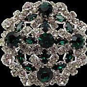 Vintage Austrian Crystal and Emerald Rhinestone Brooch