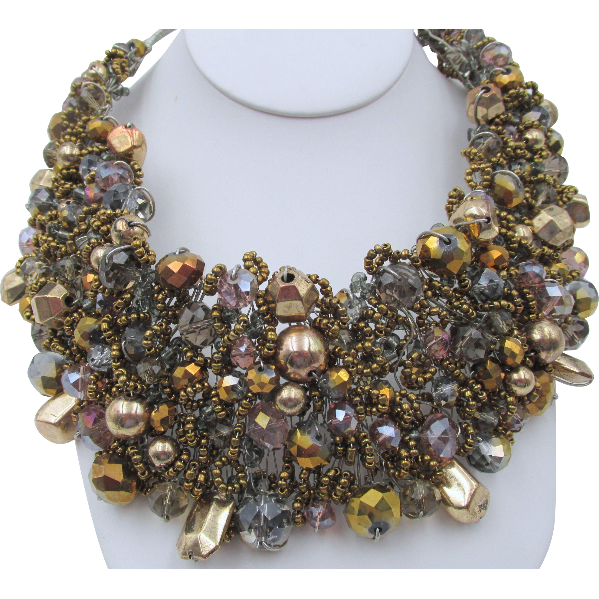 Vintage Hand Wired Metallic Beaded Italy Statement Necklace