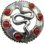 Vintage Silver Snake and Cabochon Brooch