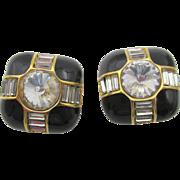 Vintage St. John Black Enamel and Rhinestone Earrings