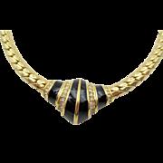 Vintage Christian Dior Black Enamel and Rhinestone Necklace