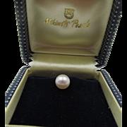 Vintage Mikimoto Silver Cultured Pearl Tie Tack in Original Box