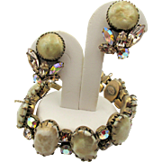 Vintage Signed Regency Champagne Faux Pearl and Rhinestone Bracelet and Earrings