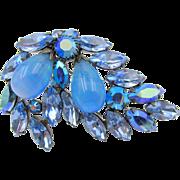 Vintage Signed Regency Blue Teardrop And Rhinestone Brooch