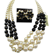 Vintage Mimi di N Faux Pearl Triple Strand Necklace and Earrings MINT