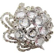 Vintage Signed Reja Open Back Crystal Rhinestone Brooch