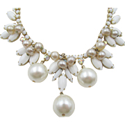 Vintage Delizza & Elster Juliana White Milk Glass and Pearl Drop Necklace