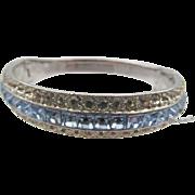 Vintage Signed Ora Blue Rhinestone Rhodium Plated Bangle Bracelet