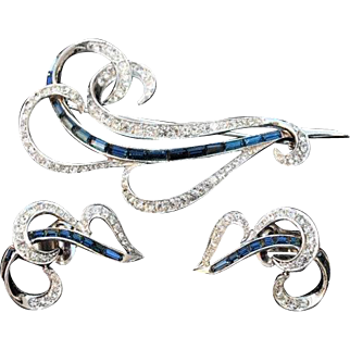 Vintage Marcel Boucher Sapphire and Crystal Rhinestone Brooch Pin and Earring