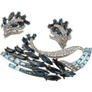 Vintage Crown Trifari Blues Rhinestone Brooch and Earring