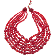 Reserved for DK: Vintage Signed Coppola e Toppo Red Faceted Beaded Six Strand Necklace