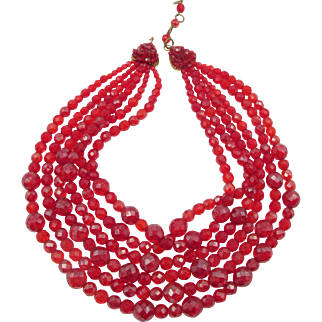 Vintage Signed Coppola e Toppo Red Faceted Beaded Six Strand Necklace