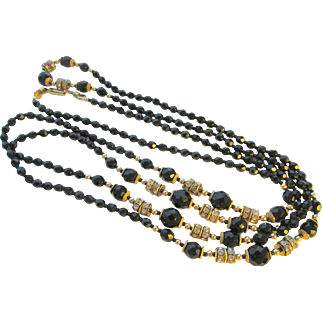 Vintage Italian Ellelle Black Glass Flapper Necklace 72 in.