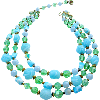 Vintage Signed Regency Turquoise and Green Art Glass Triple Strand Necklace
