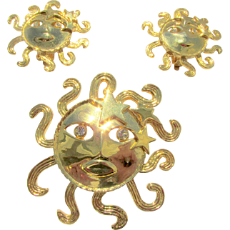 Vintage Signed Butler and Wilson Blazing Sun Rhinestone Brooch and Earrings