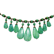 Vintage Deco Czech Green Peking Glass Graduated Drops Necklace