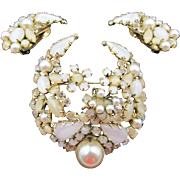 Vintage Signed Schreiner Opalescent Rhinestone and Pearl Brooch and Earrings