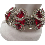 Vintage Unsigned Kramer of New York  Red and Halo Crystal Rhinestone Bracelet